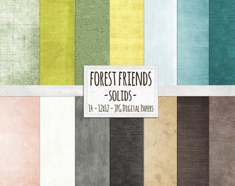 Textured Solid Background Papers, Woodland Forest Friends, Instant Download Scrapbook Papers for Personal + Commercial Use