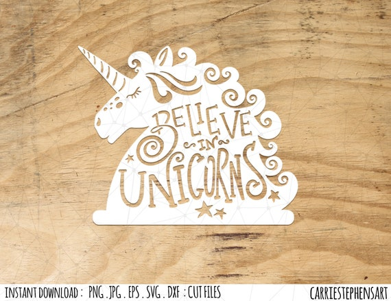 Svg Unicorn Cutting File Eps Png Pdf Dxf For Silhouette Etsy