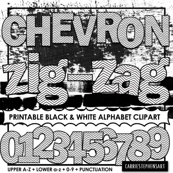 photo relating to Poster Board Letters Printable known as Chevron PRINTABLE Alphabet ClipArt, College or university Bulletin Board Letters, Black  White Coloring Letters, Print and Colour, PNG Electronic Alpha