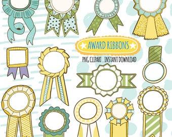 Award Ribbon ClipArt Graphics, Yellow & Green Winner Label, Classroom Teacher Award Template, Printable Instant Download DIY Stickers