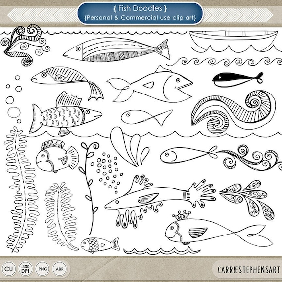 Fish Digital Stamp Nautical Clipart Hand Drawn Doodles Etsy