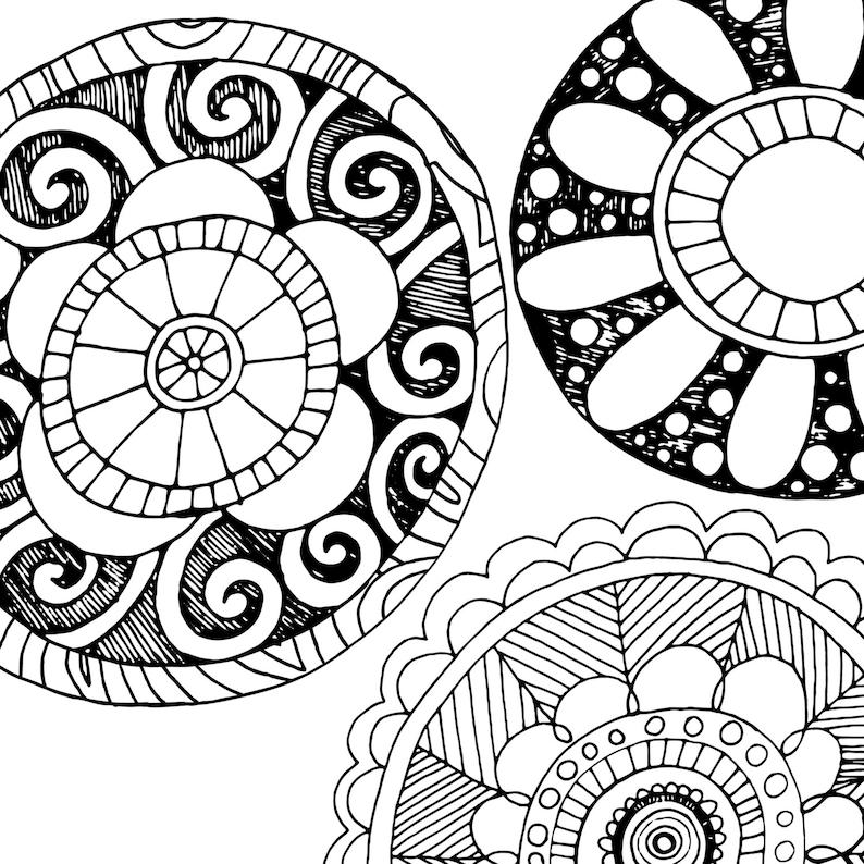 Doodle Flowers Clipart Boho Digital Flower Line Art Flower