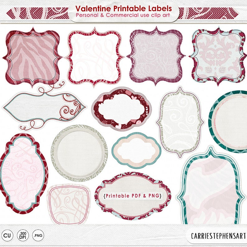 graphic regarding Valentine Labels Printable known as Valentine Labels, Printable Label ClipArt, Sbook Journaling, Do-it-yourself Collage, Printable Decoupage Visuals for Invites Playing cards, Stickers