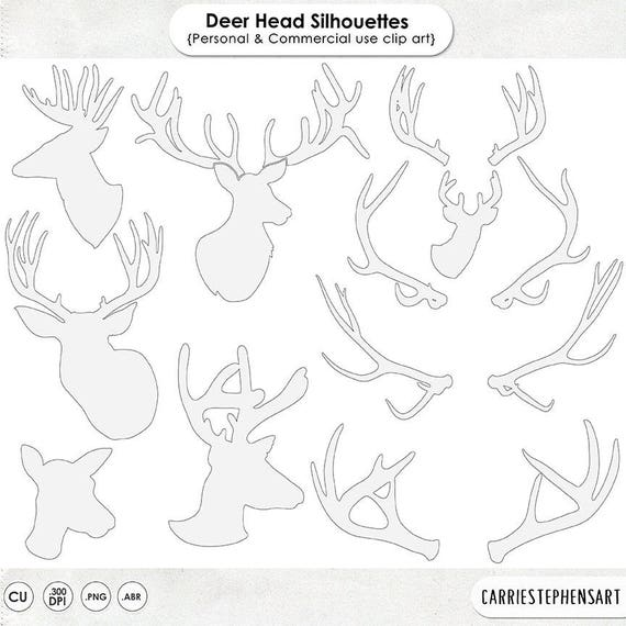 Deer Head Silhouette Clip Art Line Art Outline Buck Doe Etsy