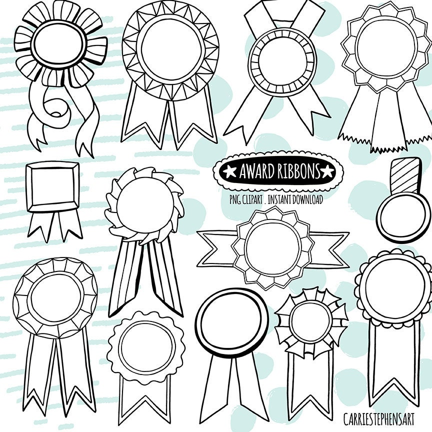 Doodle Award Ribbon Black White Lineart Digital Graphic