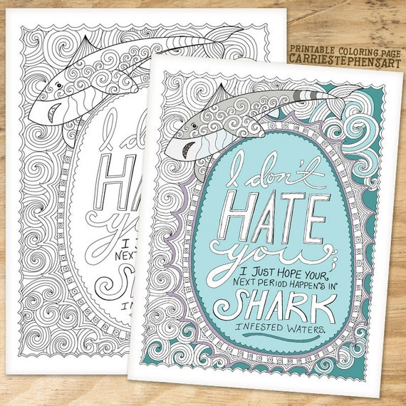 Shark Coloring Page Printable Adult Funny