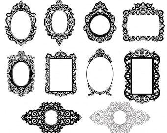 Ornate Baroque Frame Clip Art, Gothic Digital Frames, ClipArt & Photoshop Brush, Elegant Victorian Digital Stamp, Frame Silhouette
