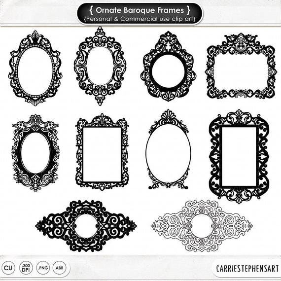 Ornate Baroque Frame Clip Art Gothic Digital Frames Clipart Etsy