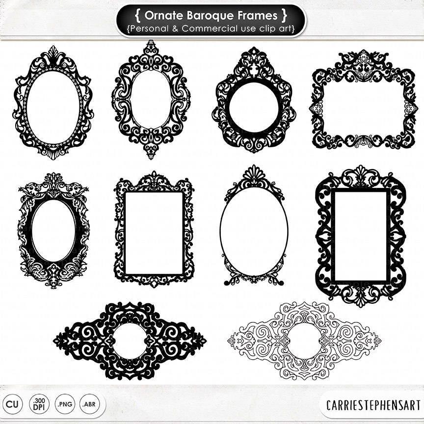 Ornate Baroque Frame Clip Art Gothic Digital Frames ClipArt | Etsy