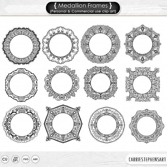 Medallion Frame Clip Art Mehndi Circle Borders Monogram Digital