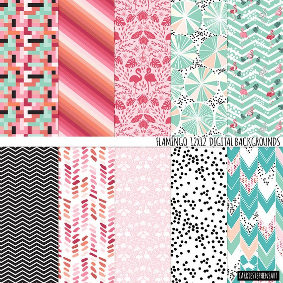 Flamingo Digital Paper Tropical Scrapbook Backgrounds Flamingo Patterns Pink Mint Teal Graphic Modern By Carriestephensart Catch My Party