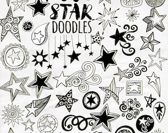 Stars, Shooting Star ClipArt, Decorative Star Silhouettes, Black & White Line Art Images, Doodle ClipArt, Instant Download, Transparent