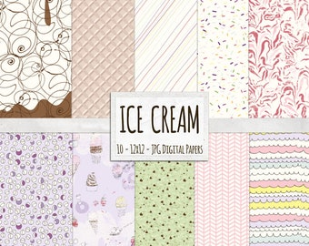 Ice Cream Backgrounds, Sweet Summer Treats Digital Paper, Pink and Purple Sprinkles, Scallops and Chocolate Swirls Pattern Paper