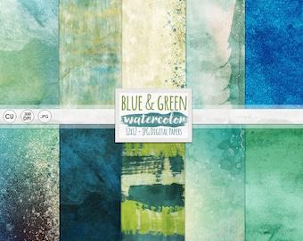 Blue & Green Watercolor Digital Paper, Aqua + Teal Background Paper Pack, Painted Scrapbook Paper, Under the Sea, Sea Turtle, Ocean Theme