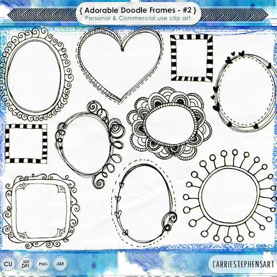 Digital Clip Art Borders Doodle Frames Adorable Whimsical | Etsy