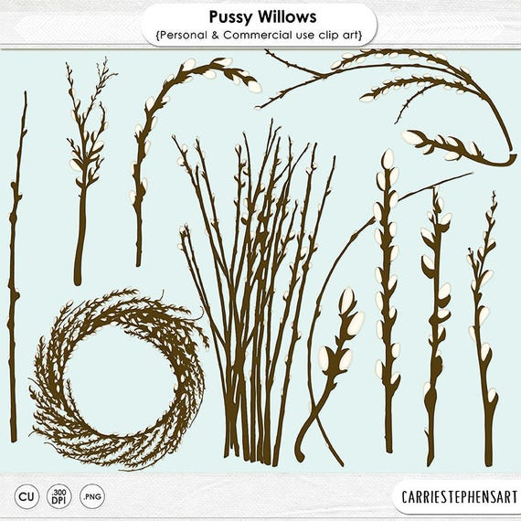 Pussywillow Clipart Willow Tree Branch Easter Clipart Etsy
