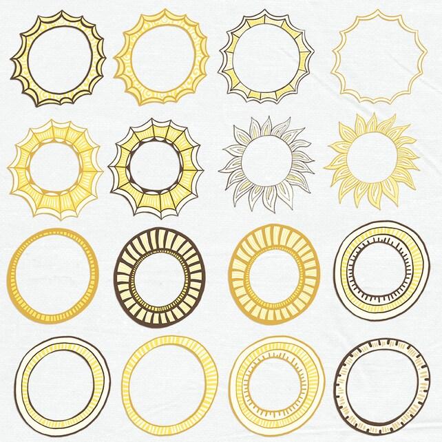 Sonnenschein Rahmen digitale Etikett ClipArt Vorlage | Etsy