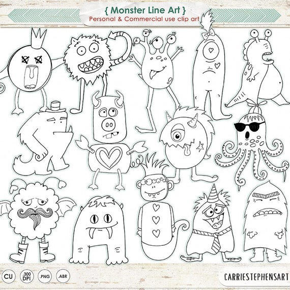 Monster Line Art Silly Monster Doodles Children Clipart Hand