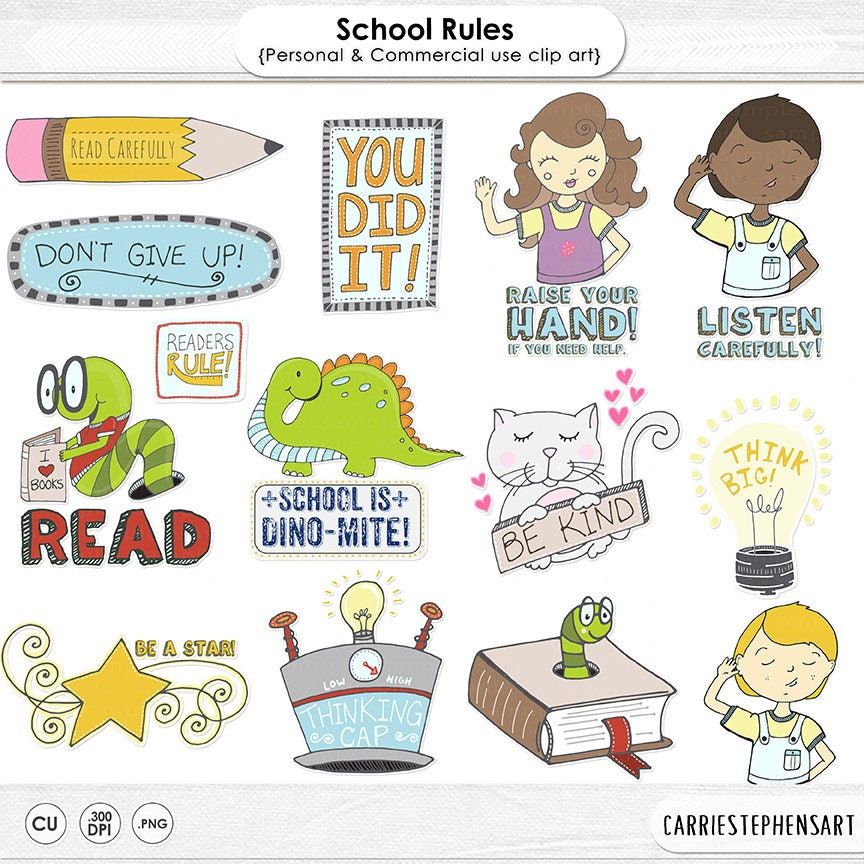 Zurück zu Schule Regeln Zeichen Cliparts Lehrer Grafiken | Etsy