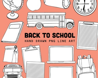 Back To School Line Art Images, Black and White School Supplies ClipArt for Teachers, College students   Instant Download, Commercial Use