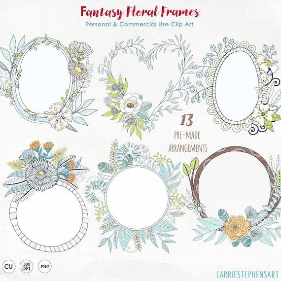 Feminine Floral Wreath Clipart Bohemian Flower Monogram Frame