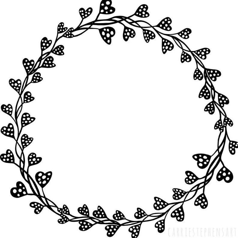 Circle Heart Border Clipart Wedding Monogram Frame