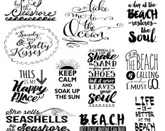 Beach Typography Word Art, Summer Inspirational Quote, Digital Scrapbook Title, Project Life WordArt Digital Stamp Printable, DIY