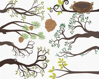 Tree Branch Clip Art, Bird Nest & Pine Cone, Tree ClipArt, Tree Branches, Digital Invitation Graphics, Whimsical Woodland Forest