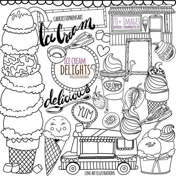 Printable Digital Stamps, Ice Cream Doodles, Black Line ...