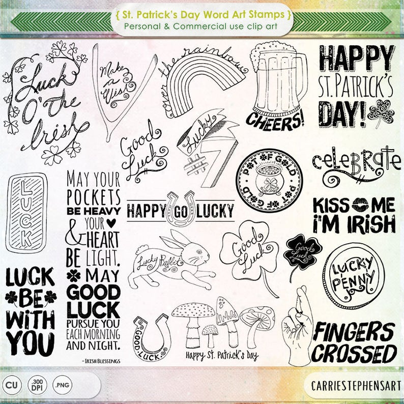 St Patricks Word Art Digital Stamps Photoshop Brush