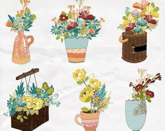 Flower Vase Clip Art, Floral Bunches & Bouquets Container ClipArt, Spring Flower Pots, Card Making Digital Graphics, Invitations