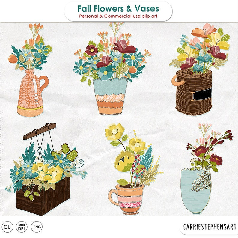 225 & Flower Vase Clip Art Floral Bunches \u0026 Bouquets Container ClipArt Spring Flower Pots Card Making Digital Graphics Invitations