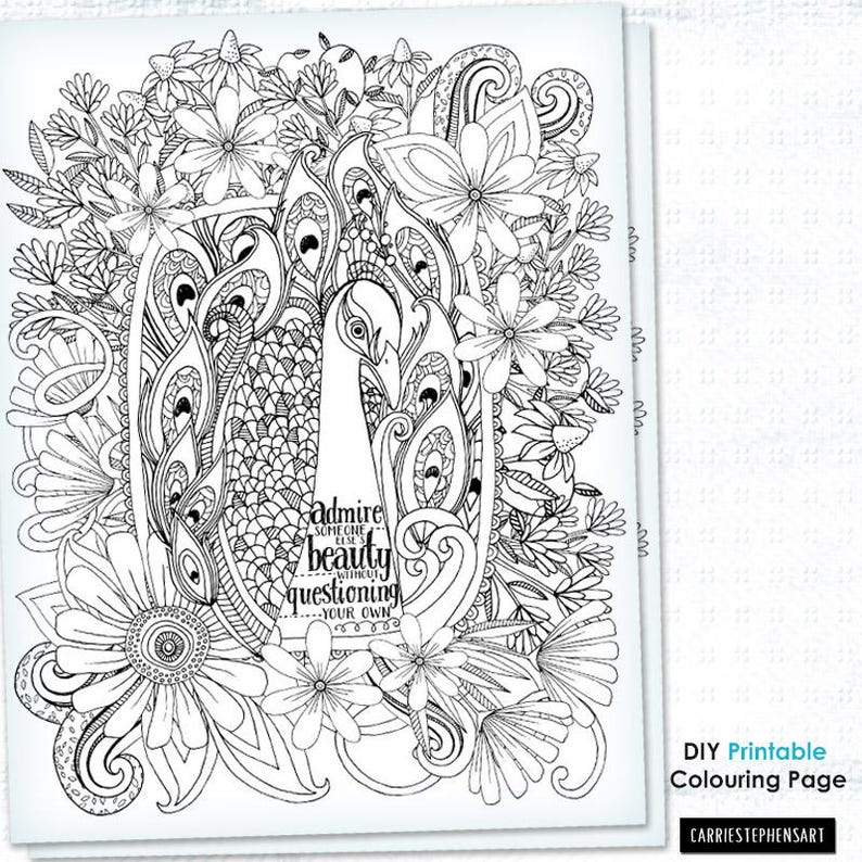 Coloriage Adulte Citation.Paon Coloration Page Feuille De Coloriage Adulte Motivation Etsy