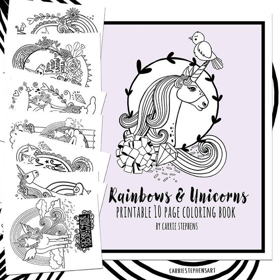 Unicorn Birthday Coloring Printable PDF, Unicorn Coloring Pages, Girls  Unicorn Theme Party Favors, Childrens Colouring book Art Activity