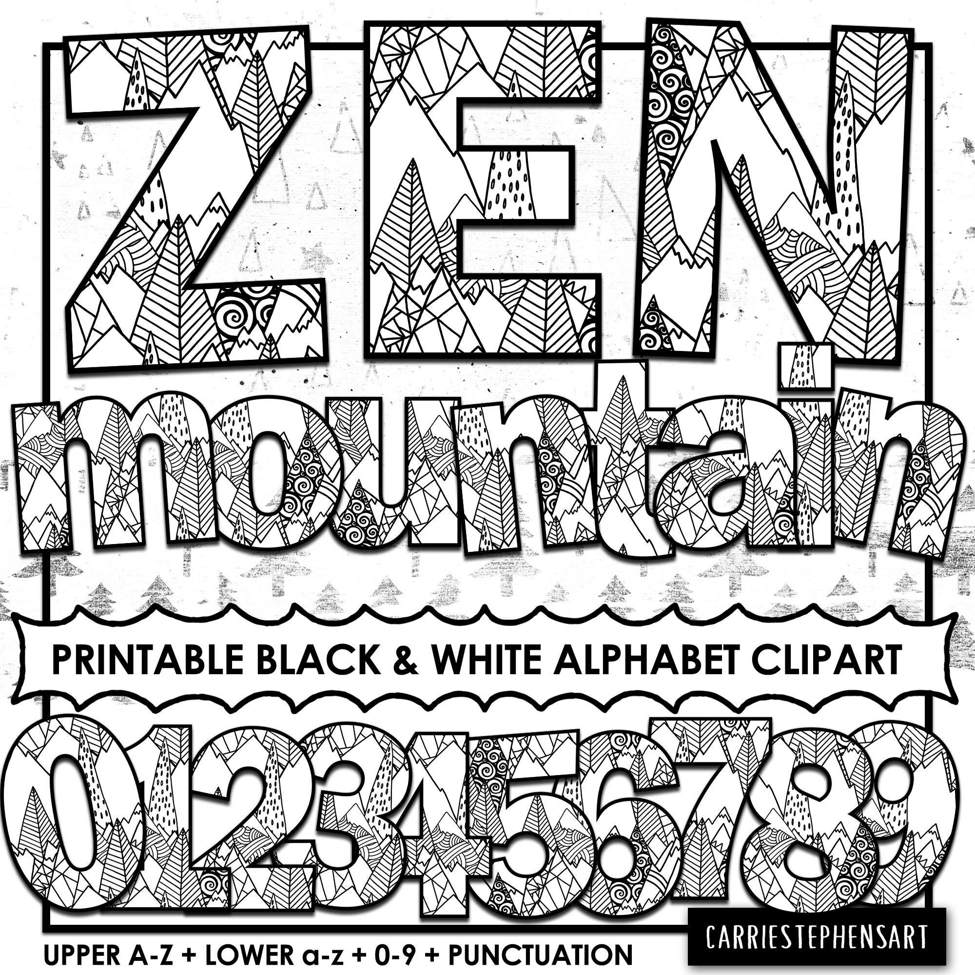image about Bulletin Board Letters Printable called Zen Mountain Alphabet ClipArt, PRINTABLE Bulletin Board