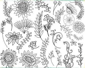 Bohemian Daisy Wild Flower Digital Stamp Doodles, Hand-Drawn Design, Spring Garden Flower Line Art Images, Printable Floral Graphics