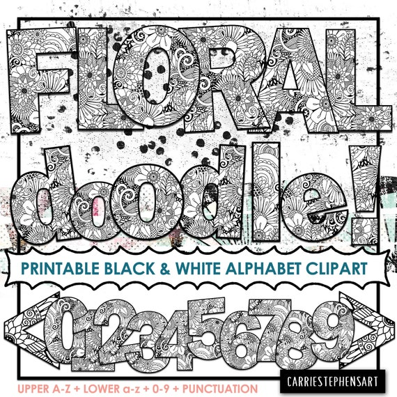 graphic about Printable Letters for Bulletin Boards known as Floral Doodle Alphabet ClipArt, Flower Printable Bulletin