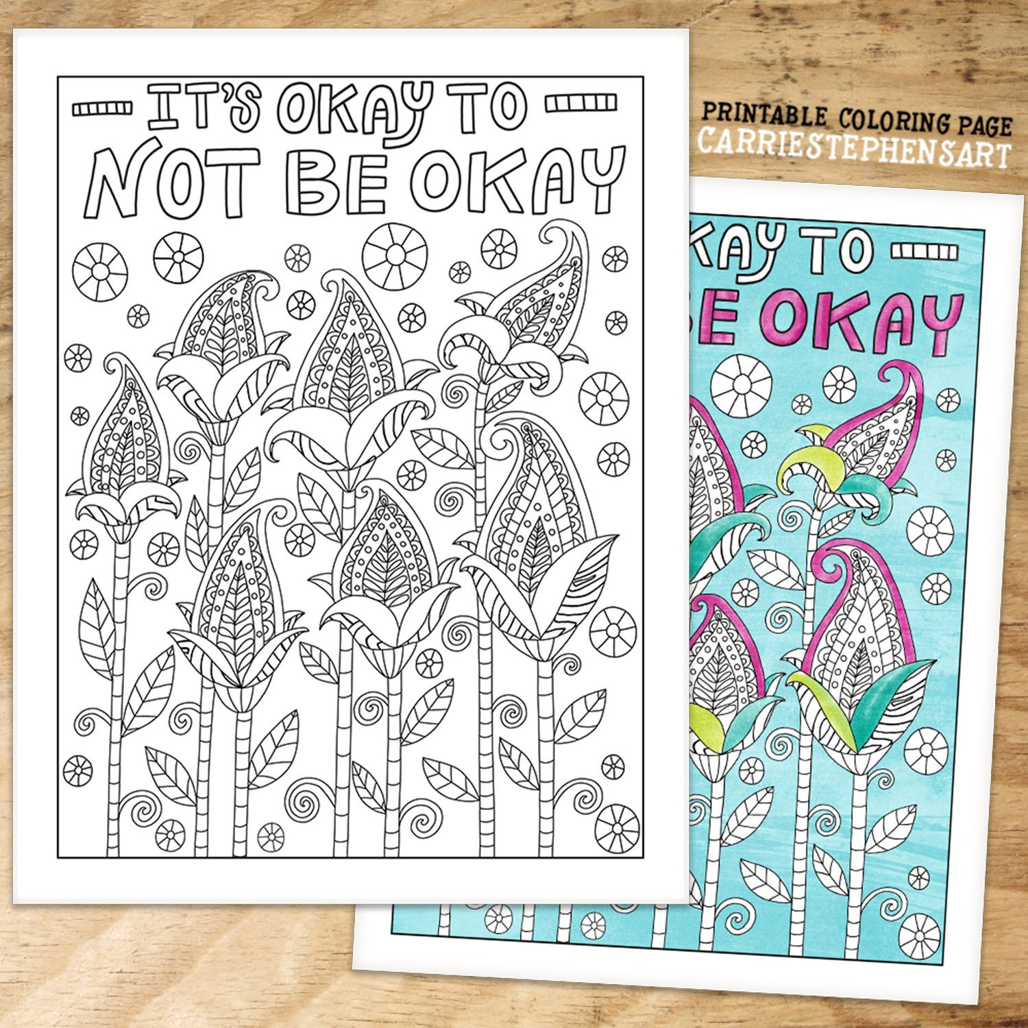 Its Ok To Not Be Okay Colouring Page Digital Download Adult