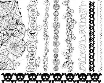 Halloween Border ClipArt, Spider Web Doodles, Hand Drawn Halloween Digital Clip Art, Spiders, Pumpkins, Skulls & PNG Graphic Art Doodles