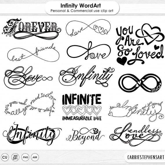 Infinity Symbol Clip Art Infinite Love Wordart Silhouette Etsy