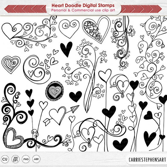 Wedding Clipart Black And White.Heart Clip Art Doodles Printable Wedding Clipart Black White