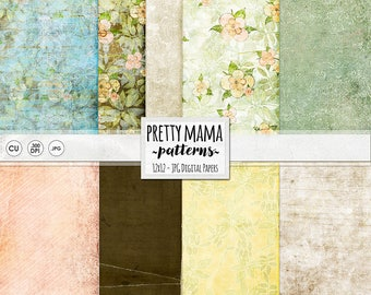 Shabby Chic Digital Paper Pack Download, Vintage Style Floral Background, Textured & Distressed, Pretty Mama, Mothers, Flower Pattern