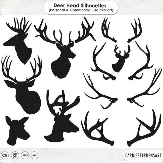 Deer Head Silhouette Clip Art Line Outline Buck Doe
