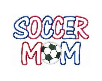 Instant Download Soccer Mom Multi Fabric Embroidery Machine Applique Design 822
