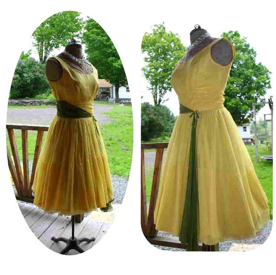 Vintage 50s Yellow Chiffon Full Circle Sexy Swing