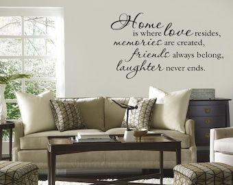 Home is Where Love Resides Wall Decal Quote Vinyl Lettering Family Friends decor