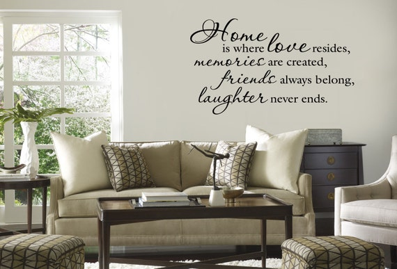 Home Is Where Love Resides Wall Decal Quote Vinyl