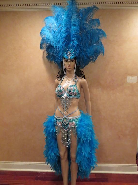 Samba feather jewellery blue