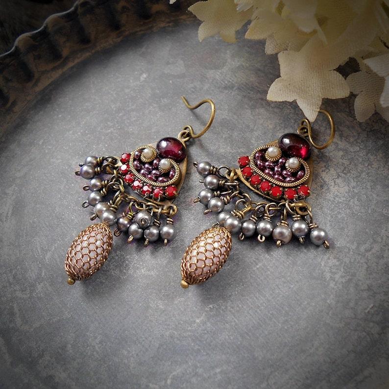 Rhythm and Rouge Romantic Red Garnet Earrings Micromosaic Micro Mosaic Rhinestone Pearls Valentines Day Edwardian Style January Birthstone