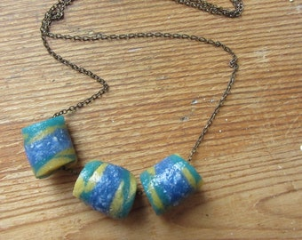 Tribal fusion beaded necklace African trade bead necklace Upcycled recycled jewelry Boho gypsy chic jewelry Hippie mom necklace Eco fashion